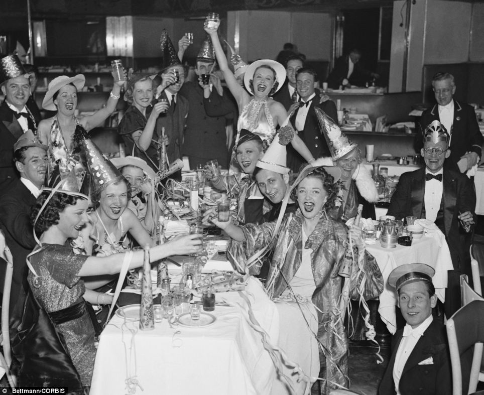 Bettman-Corbis Vintage NYE Photograph New Year's Eve Celebration in New York City's Bowery 1936