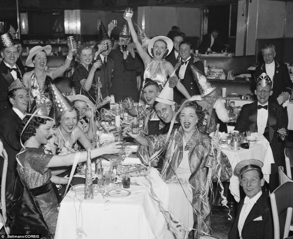 Bettman-Corbis Vintage NYE Photograph New Year's Eve Celebration in New York City's Bowery 1936