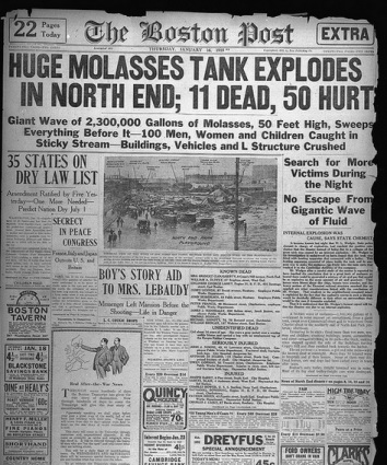 Boston Post, January 16, 1919 Headline - Huge molasses tank explodes in North End, 11 dead, 50 hurt via Boston Public Library