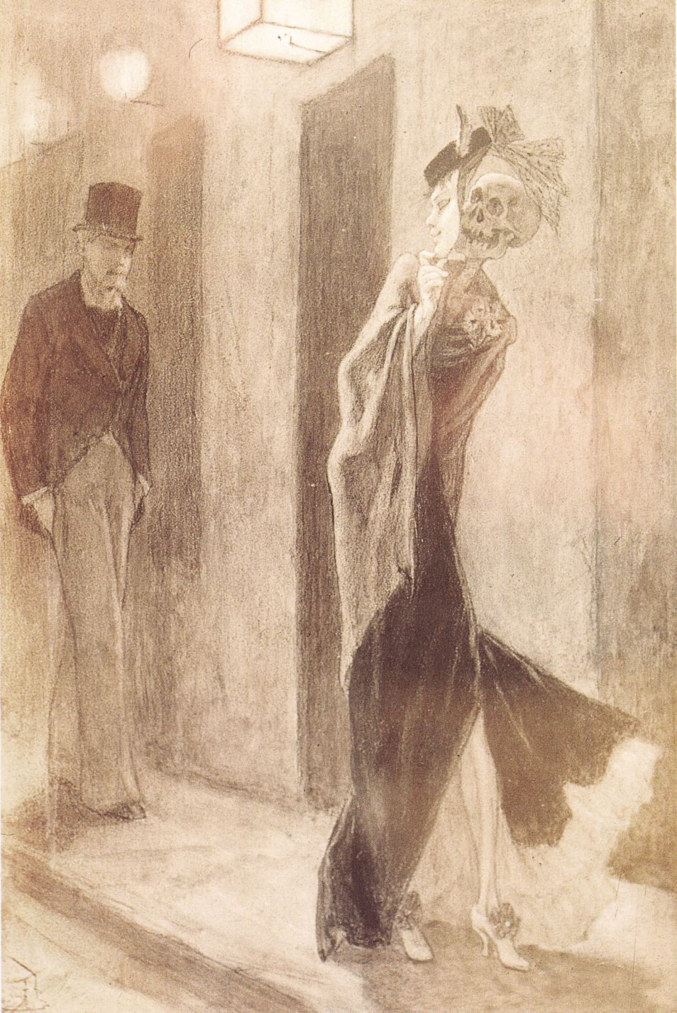 Human parody, pencil and black chalk, watercolor, by Félicien Rops, circa 1880