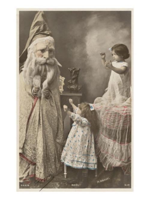 Weird Vintage Father Christmas Postcard