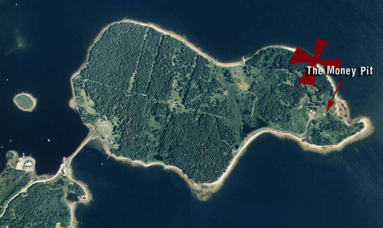 Aerial shot showing the location of the Money Pit on Oak Island, NS via Oak Island Money Pit