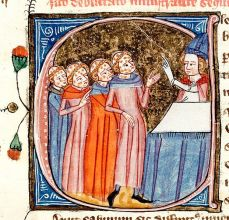A manuscript illustration of a bishop blessing victims of the Black Death, Omne Bonum, circa 1360–1375