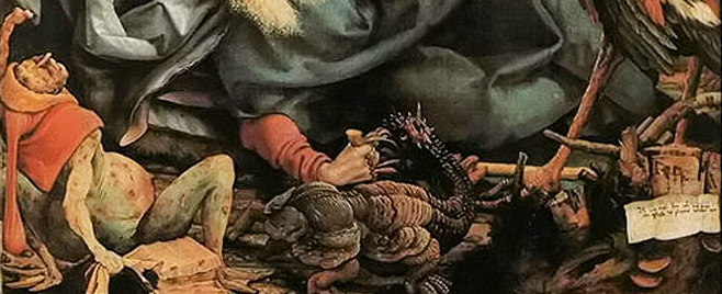 Detail, circa 1512 Matthias Grünewald painting of a patient suffering advanced ergotism