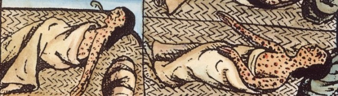 Detail from the Florentine Codex showing a Mesoamerican infected with smallpox, 16th century, Bernardino de Sahagún