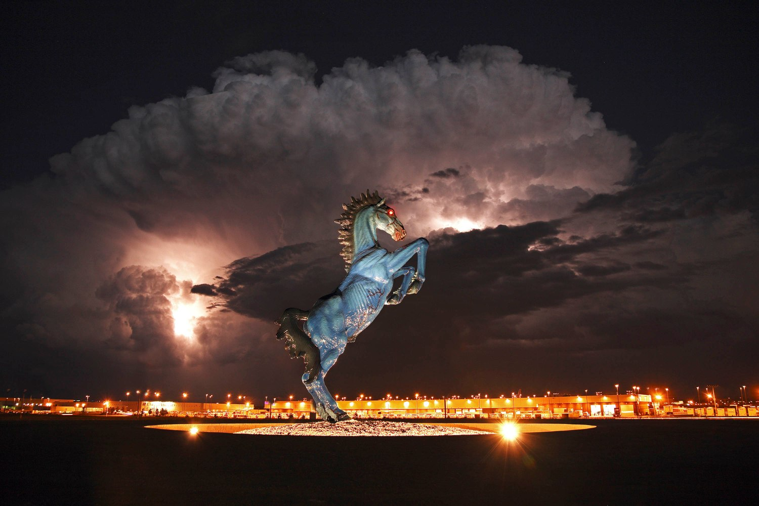 Mustang Statue by Luis Jimenez at Night. Artwork (c) 2009, The Estate of Luis Jimenez A.R.S.