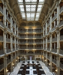 Cast iron balconies in the George Peabody Library stack room in Baltimore, MD via Glitterature