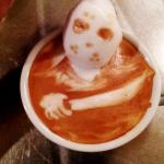 Friday the 13th Horror Latte Art by Kazuki Yamamoto via Riot Daily