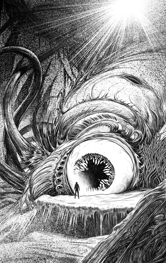 Lovecraft's Monsters illustration by John Coulthart, 2014 (via Dark Corner Books)
