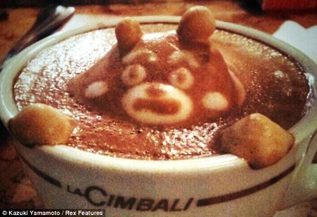 Scare Bear Coffee Latte Art by Kazuki Yamamoto via The Daily Mail
