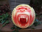 Baboon Watermelon carving by Clive Cooper via www.sparksflydesign.com