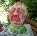 Face Watermelon carving by Clive Cooper via www.sparksflydesign.com