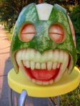 Laughing Watermelon carving by Clive Cooper via www.sparksflydesign.com