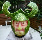 Viking Watermelon carving by Clive Cooper via www.sparksflydesign.com