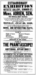 1839 Advertisement for performance by magician Adrien, and phantascope, at Artist's Gallery, Boston, via Wikipedia