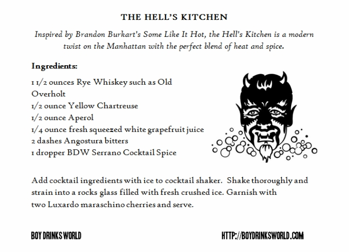 Hell's Kitchen Cocktail by Boy Drinks World