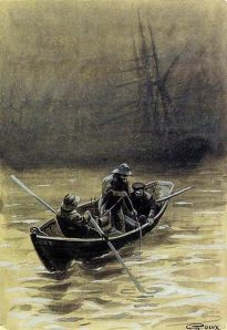 George Roux illustration from Jules Verne's novel 'The Sea Serpent - The Yarns of Jean Marie Cabidoulin' 1901