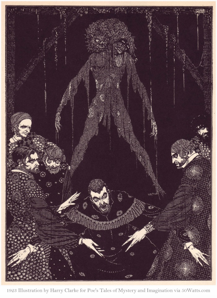 Tales of Mystery and Imagination by Poe, illustrated by Harry Clarke, 1923, via 50watts