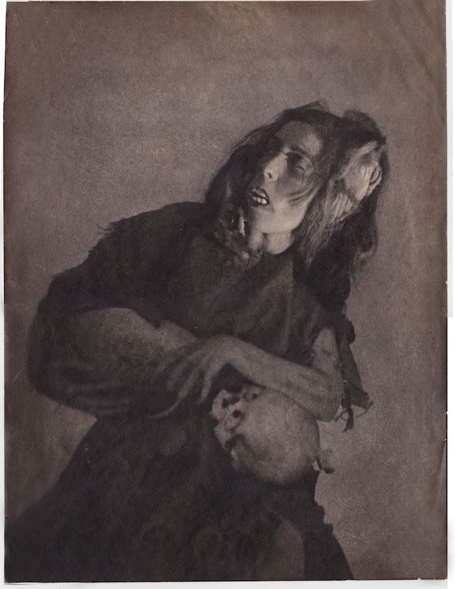 William Mortensen, 'Woman with Skull' (ca. 1926) via Hyperallergic