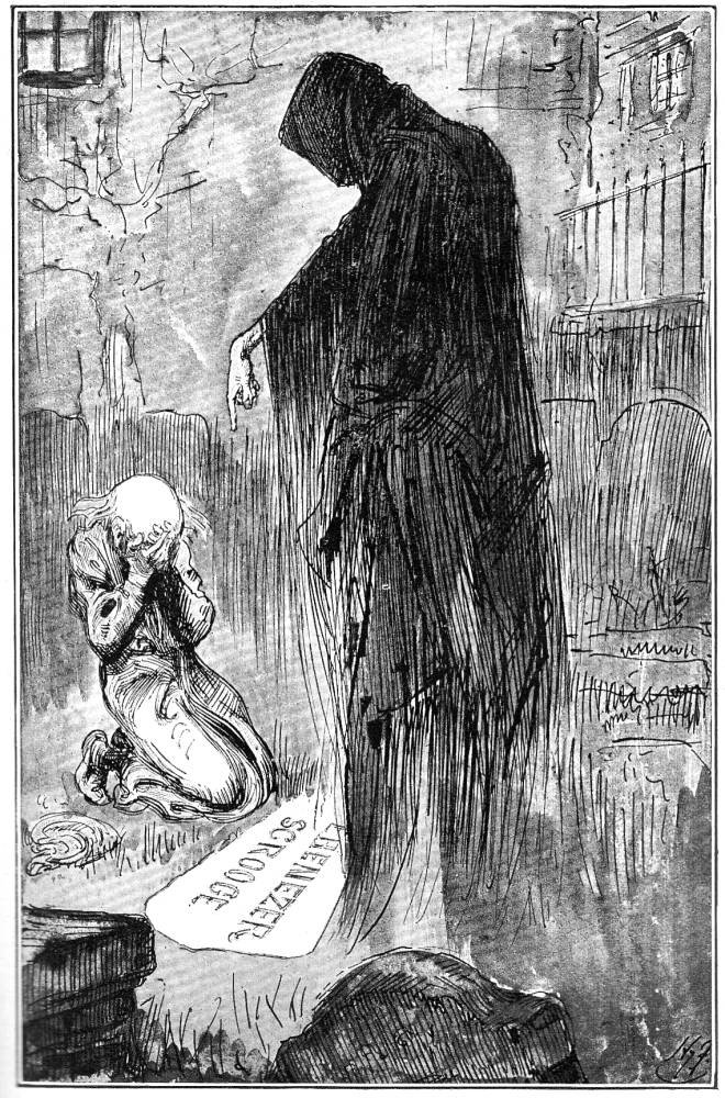 The Last of the Spirits by Harry Furniss for a Christmas Carol 1910