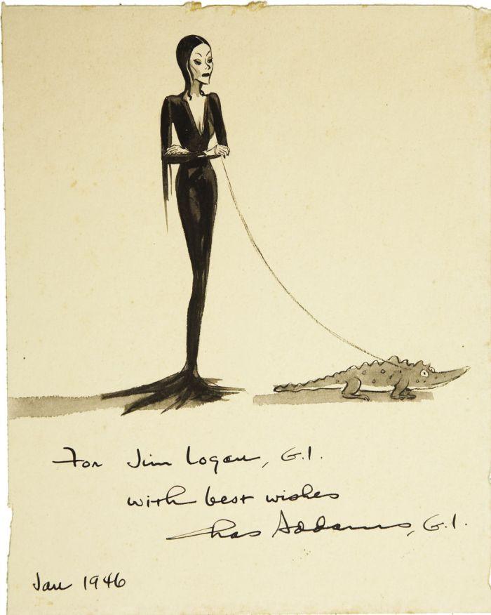 Morticia Addams by Charles Addams 1946 via VintageGal