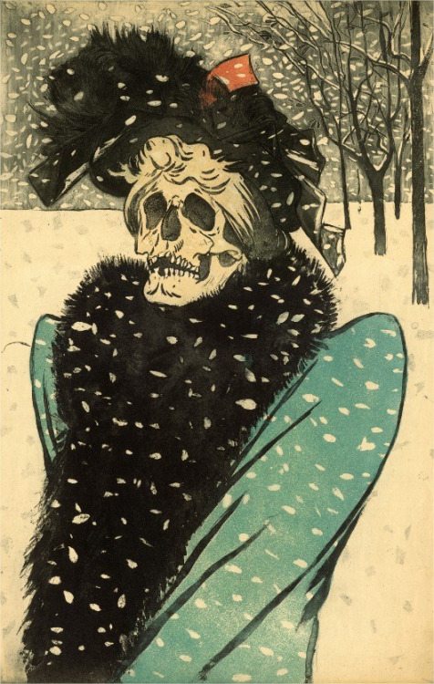 Death in fur (La Mort en fourrures), 1897, Eugène Delâtre