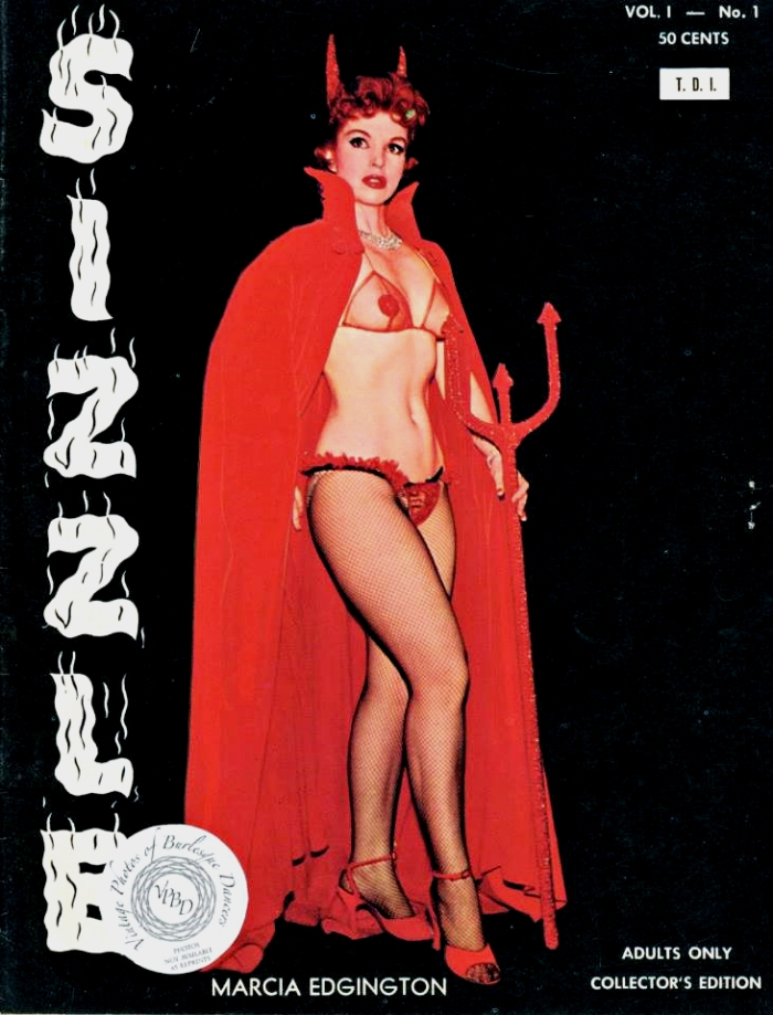 Burlesque dancer Marcia Edgington on the cover of Sizzle Magazine, 1959