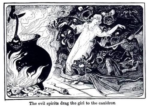 American Illustrator Henry Justice Ford, The evil Spirits drug the Girl to the cauldron, c.1900