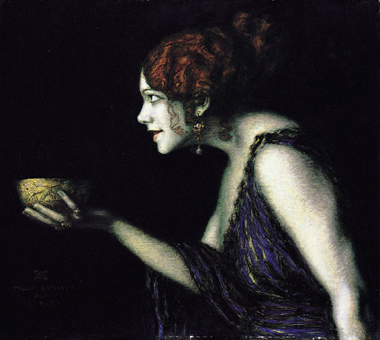 Austrian actress Tilla Durieux as the witch Circe, painted by Franz von Stuck, 1913
