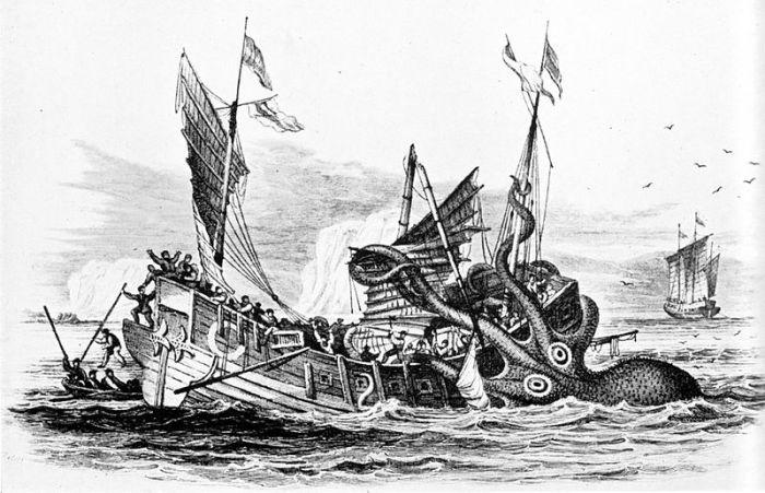 Pierre Denys de Montfort's Poulpe Colossal attacks a merchant ship.
