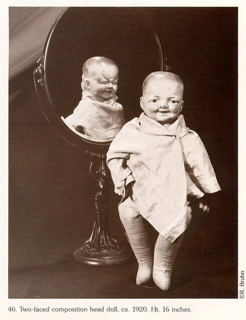 Two-faced Composition Head Doll from the 1920s