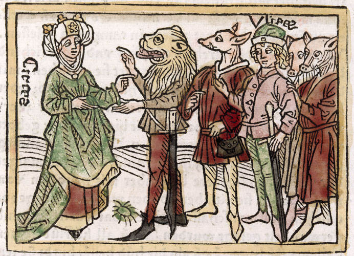 Circe, Woodcut from the Nuremberg Chronicle, 1493