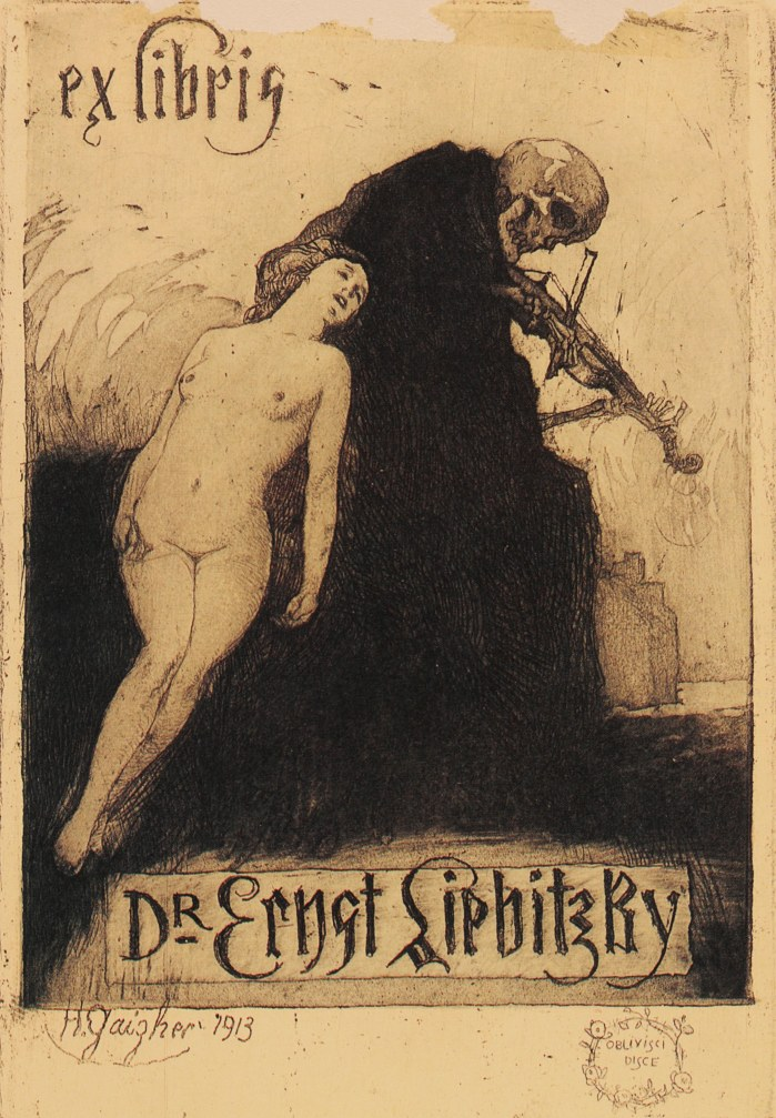 Ex Libris bookplate etching created for Dr. Ernst Liebitzky by Horatio Gaigher, 1913