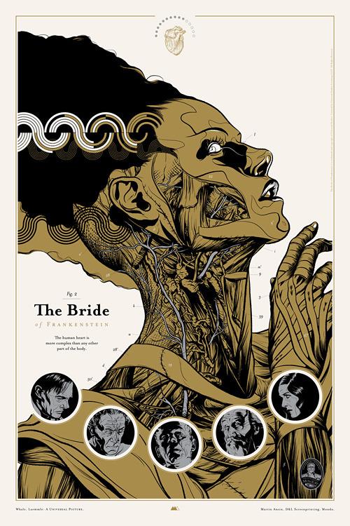 Bride of Frankenstein graphic art poster by Martin Ansin for Mondo - Universal Monsters series, 2010evahalloween
