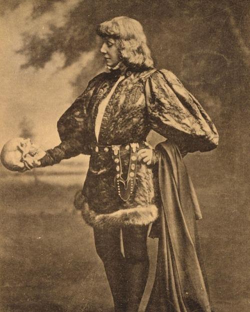 French actress Sarah Bernhardt playing Hamlet in 1899evahalloween