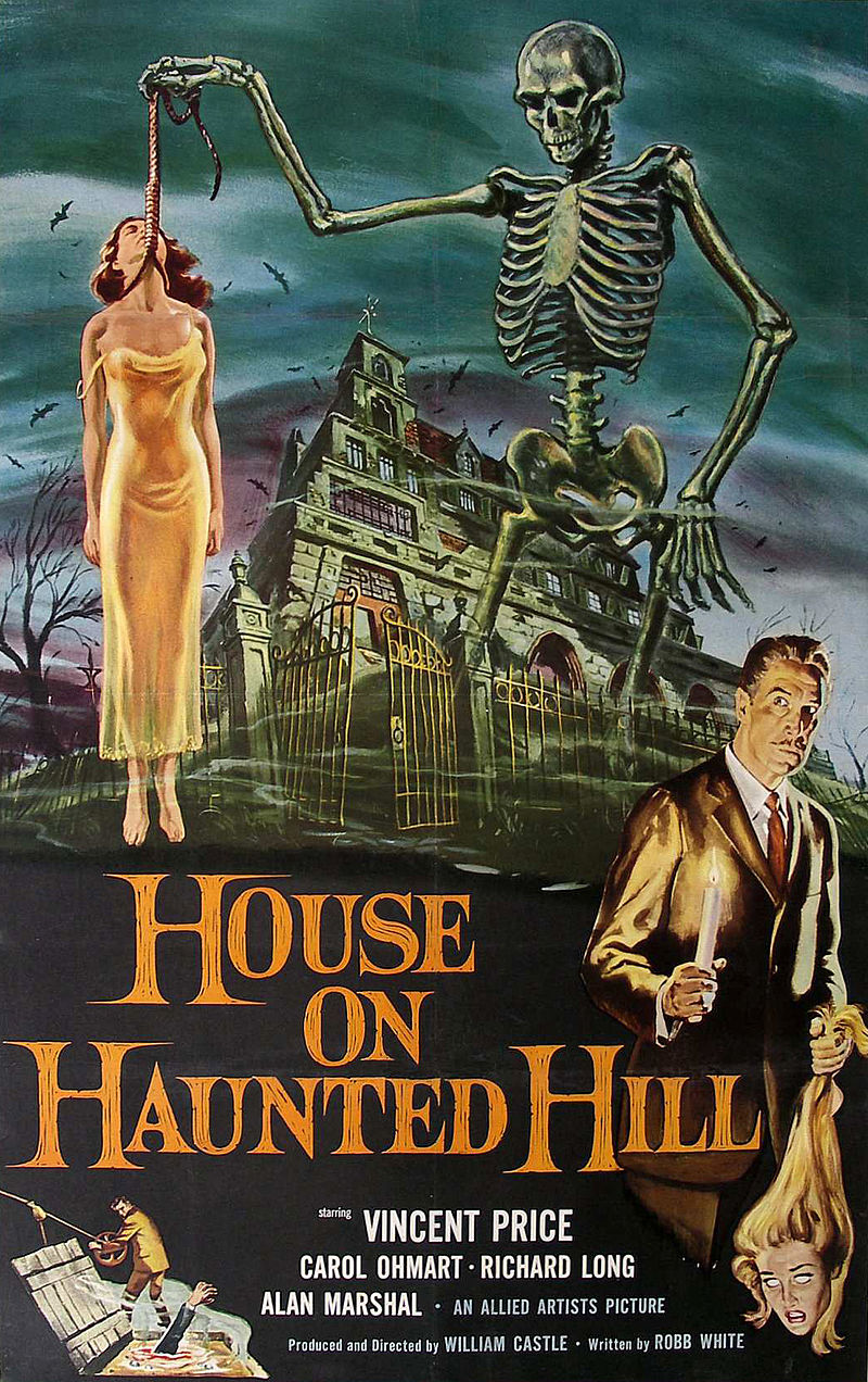 Theatrical poster forHouse on Haunted Hill, starring Vincent Price, 1959evahalloween